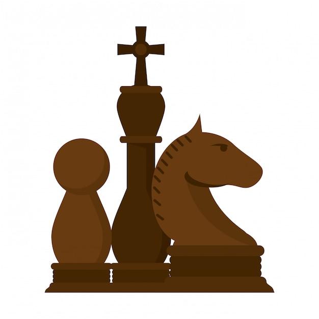 Desenho de jogo de peças de xadrez Vetor Premium