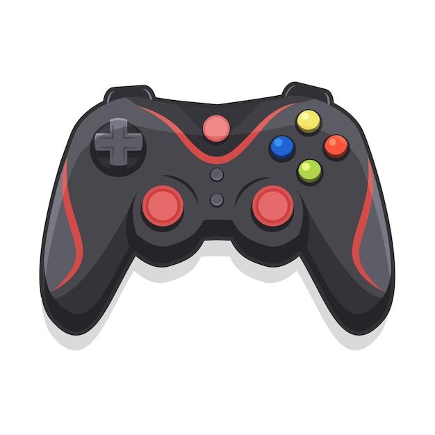 Desenho de joystick para jogadores com fundo branco Vetor Premium