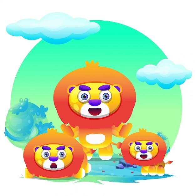 Desenho de leão bonito Vetor Premium