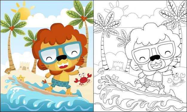 Desenho de leão surfando na praia Vetor Premium