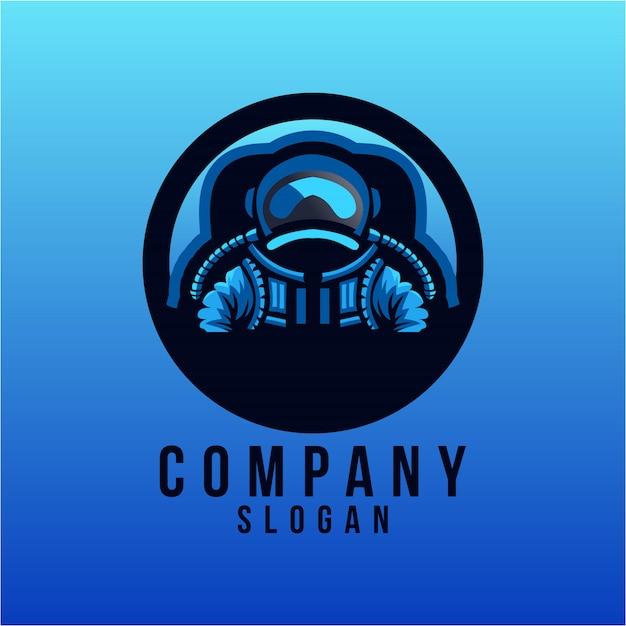 Desenho de logotipo de astronauta Vetor Premium