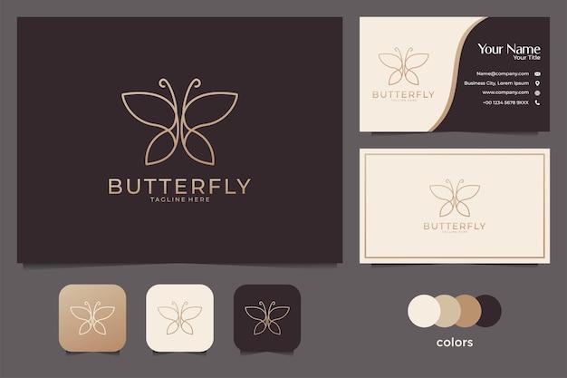 Desenho de logotipo e cartão de visita elegante linha de borboleta Vetor Premium