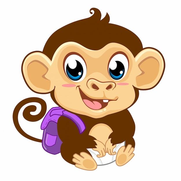 Desenho De Macaco Bebe Fofo Em Vetor Vetor Premium