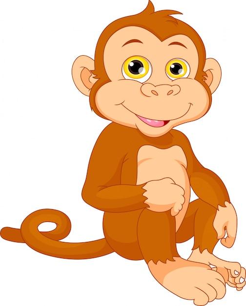 Desenho De Macaco Bebe Fofo Vetor Premium