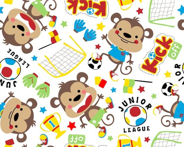 Desenho de macaco engraçado no vetor padrão sem emenda Vetor Premium