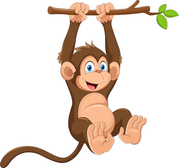 Desenho de macaco fofo pendurado no galho de uma árvore Vetor Premium