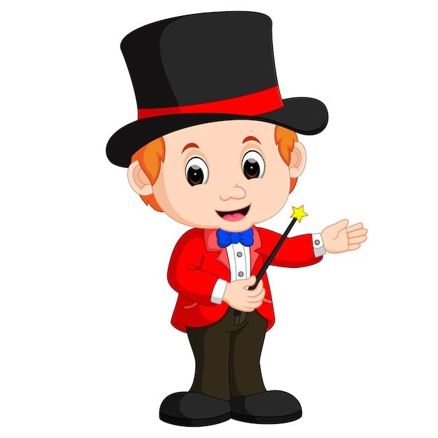 Desenho de mágico de menino Vetor Premium