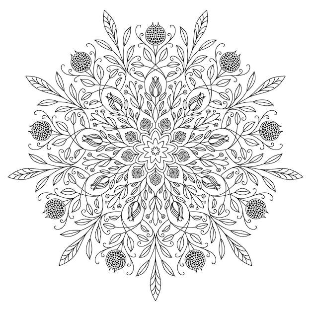 Desenho de mandala com linhas pretas em um fundo branco. belo vintage padrão redondo. origem étnica ornamentada. Vetor Premium