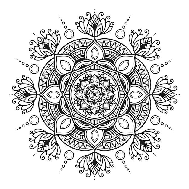 Desenho de mandala de ioga, adulto de página para colorir ou desenho de camiseta Vetor Premium