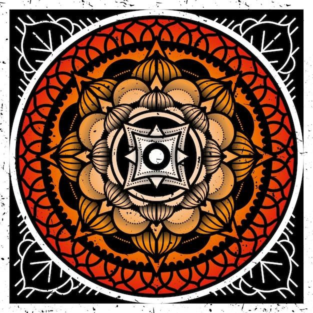 Desenho de mandala de moldura quadrada para aplicar em azulejos. ilustração geométrica e floral. Vetor Premium