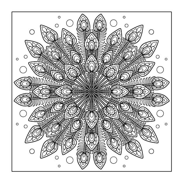 Desenho de mandala de penas de pavão para livro de colorir Vetor Premium