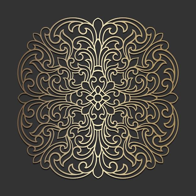 Desenho de mandala ornamentado. padrão de círculo ornamental. Vetor Premium