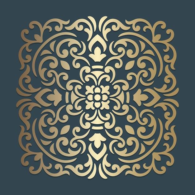 Desenho de mandala ornamentado. padrão de quadrados ornamentais. Vetor Premium