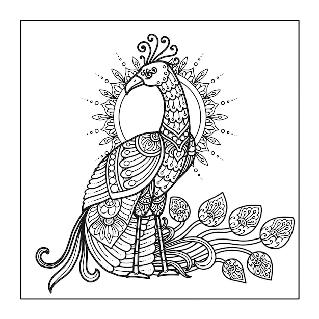 Desenho de mandala pavão para livro de colorir Vetor Premium