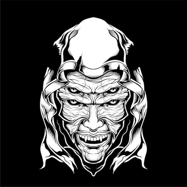 Desenho de mão assustador ceifador Vetor Premium