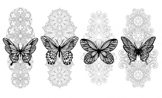 Desenho de mão de borboleta de arte de tatuagem e esboço com arte de linha isolado no branco Vetor Premium