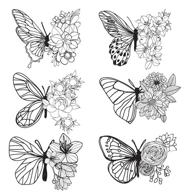 Desenho de mão de borboleta de arte de tatuagem e esboço com ilustração de arte de linha Vetor Premium