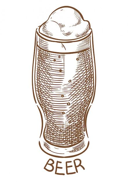 Desenho de mão de desenho de vetor de copo de cerveja Vetor Premium