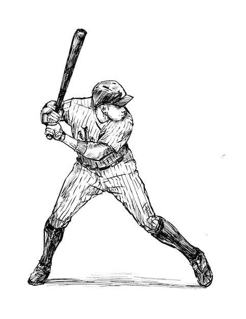 Desenho de mão de jogador de beisebol Vetor Premium