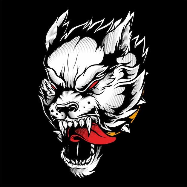 Desenho de mão de lobo vector Vetor Premium