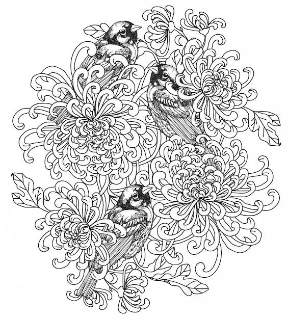 Desenho de mão de pássaro de arte de tatuagem Vetor Premium