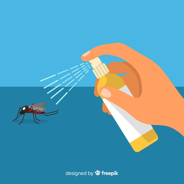 Desenho de mão segurando o spray de mosquito Vetor grátis