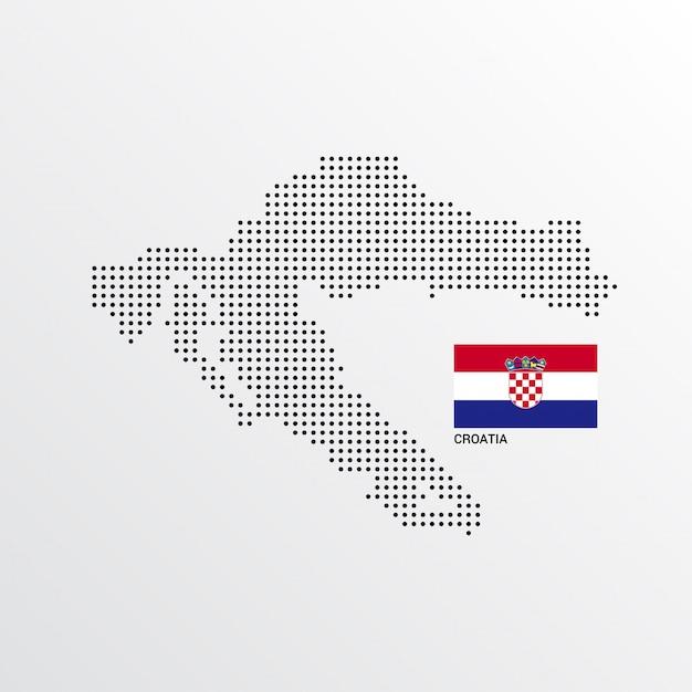 Desenho de mapa de croácia com bandeira e luz de fundo vector Vetor grátis