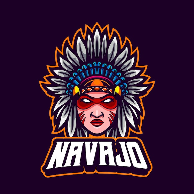 Desenho de mascote autêntico de uma garota nativa americana Vetor Premium