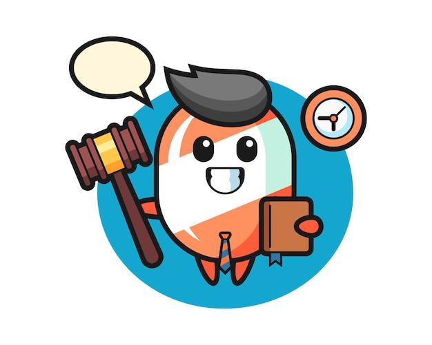 Desenho de mascote de doces como juiz Vetor Premium