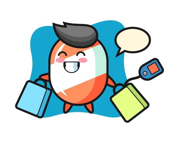 Desenho de mascote de doces segurando uma sacola de compras Vetor Premium