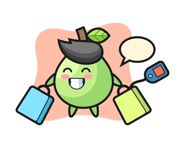 Desenho de mascote de goiaba segurando uma sacola de compras, estilo bonito para camiseta, adesivo, elemento do logotipo Vetor Premium