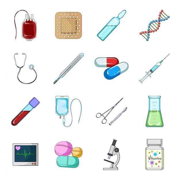 Desenho de medicina definir ícone. desenhos animados isolados conjunto farmácia e hospital. remédio . Vetor Premium