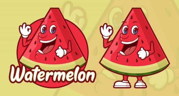 Desenho De Melancia Deliciosa Personagem Engracada Vetor Premium