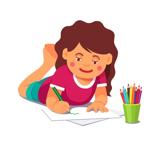 Desenho De Menina Com Lapis Deitado No Chao Vetor Gratis