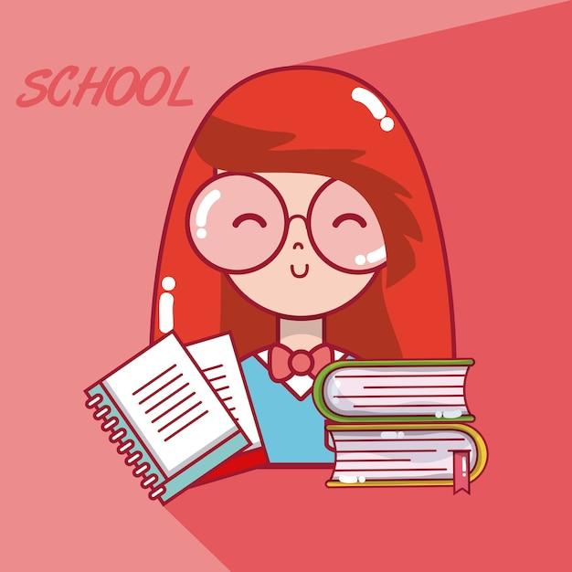 Desenho De Menina De Estudante De Escola Vetor Premium