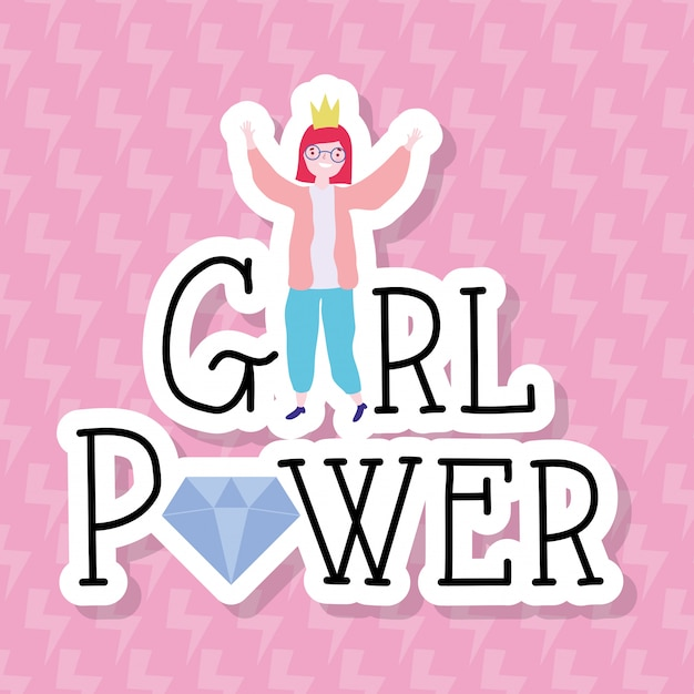 Desenho de menina de poder e forte Vetor Premium