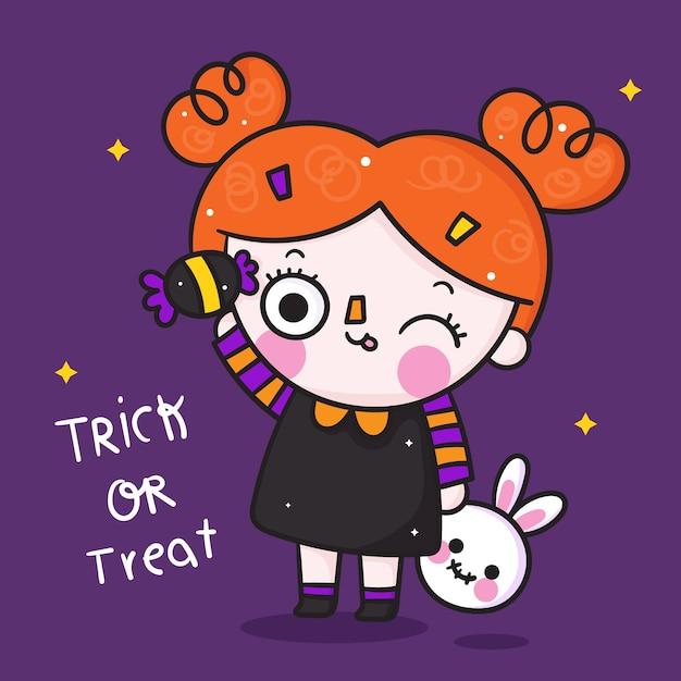 Desenho de menina fofo de halloween com doces kawaii e boneca de coelho desenhados à mão Vetor Premium