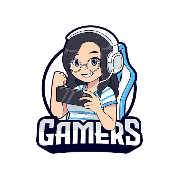 Desenho de menina gamer com óculos bonitos segurando o logotipo do mascote do smartphone Vetor Premium
