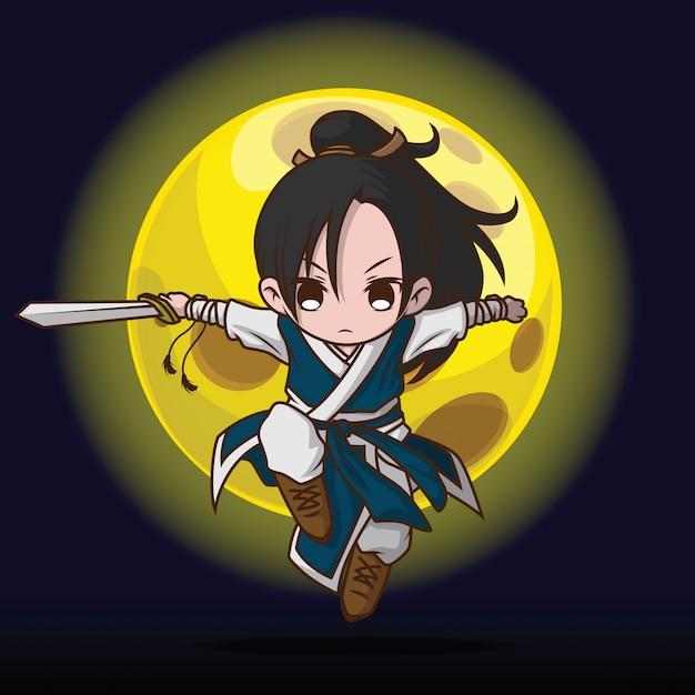 Desenho de menino bonito em traje de mestre de batalha chinês. Vetor Premium