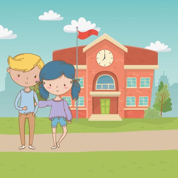 Desenho de menino e menina adolescente Vetor grátis