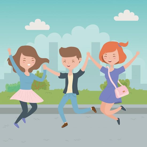 Desenho de menino e meninas de adolescente Vetor grátis
