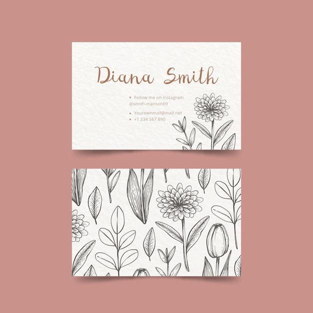 Desenho de modelo de cartão floral Vetor grátis