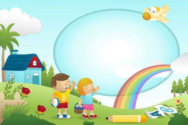 Desenho de modelo de quadro com menino e menina no fundo da natureza Vetor Premium