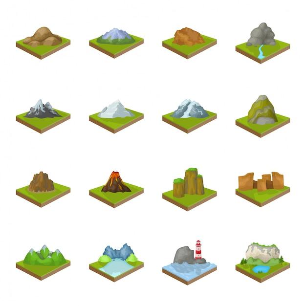 Desenho de montanha definir ícone. desenho de paisagem definido salão de ícone. montanha. Vetor Premium