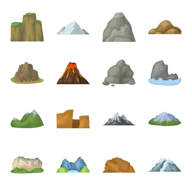Desenho de montanha definir ícone. ilustração paisagem. desenhos animados isolados definir ícone montanha. Vetor Premium