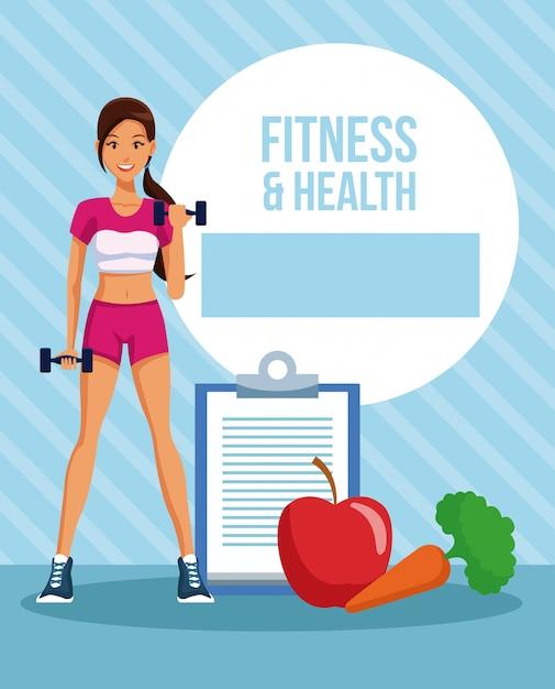 Desenho de mulher de fitness e saúde Vetor Premium