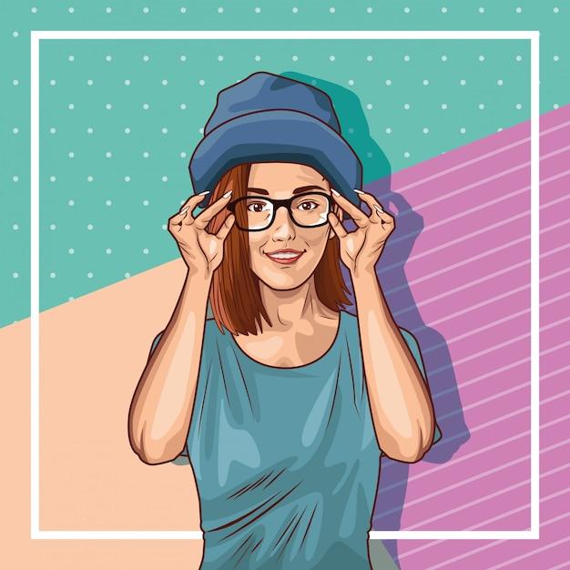 Desenho de mulher jovem pop art Vetor grátis