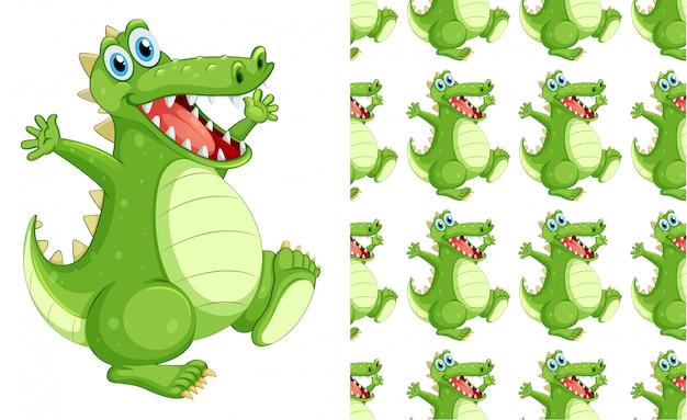 Desenho de padrão de crocodilo sem costura Vetor grátis