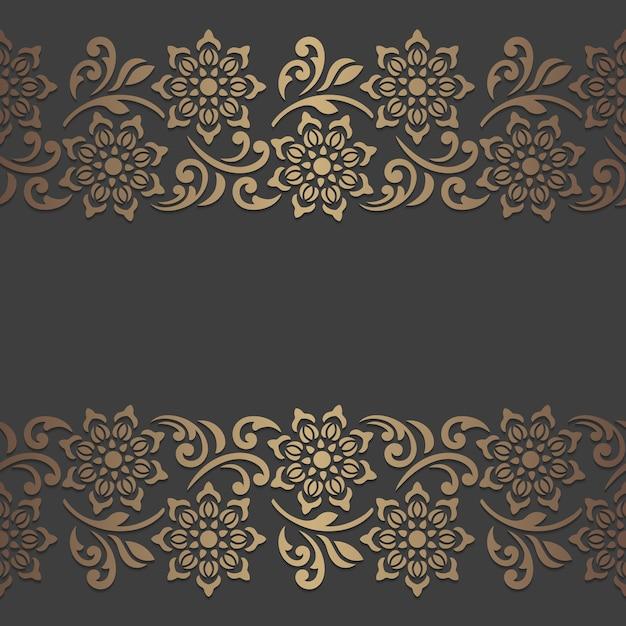 Desenho de painel cortado a laser com elementos florais. modelo de borda vintage ornamentado. Vetor Premium
