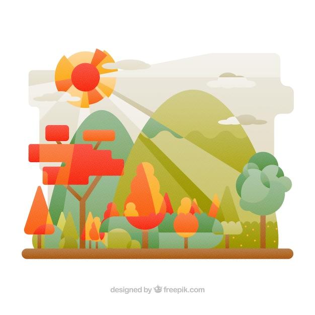 Desenho De Paisagem Colorida Plana Vetor Gratis